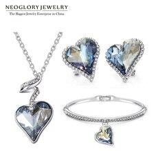 Neoglory النمسا كريستال حجر الراين طقم مجوهرات القلب الزفاف الزفاف حلية هدايا عيد ميلاد للنساء صديقة 2020 جديد JS4