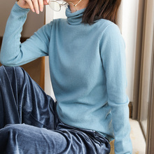 2019 new womens sweater curling collar loose autumn and winter solid color cashmere