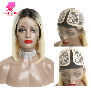 Image 5 - Queen 13x1 613 Blonde Brazilian Straight Human Hair Bob Wigs 6   16 Inch Remy Short Ombre Bob Lace Front Wigs for Black Women