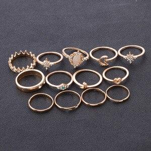 13 шт./компл. Винтаж сердечко серебряного цвета уплотнительное кольцо для женщин с подвесками Moon с украшением в виде лепестков крыльев геометрические обручальное кольцо ювелирные изделия|Кольца|   | АлиЭкспресс