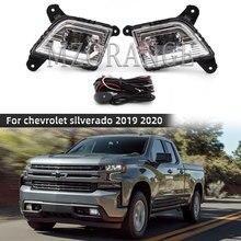 Led DRL foglights dla chevrolet silverado 2019 2020 światła dzienne foglamp reflektory jazdy lampy do samochodów