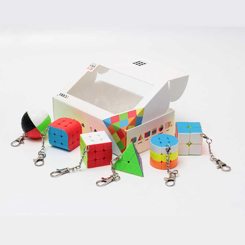 Z CUBE Комплект 6 штук/Подарочный набор из мини-Волшебный куб Cube 2x2x2 3x3x3 магический шар цилиндр цепочка для ключей, головоломка, развивающие игрушки для детей