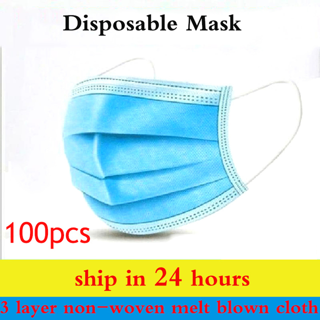 10pcs/50Pcs/100pcs Mask disposable 3 layers of non-woven melt blown cloth Mask mouth Face filter Breathable masks