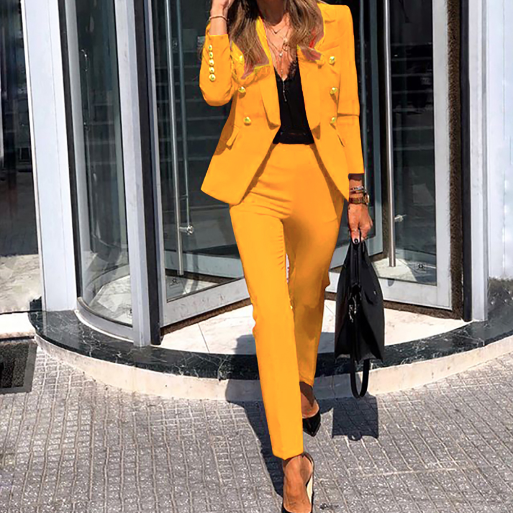 2020 Winter Top+Pant Outfits Women Double Breasted Set Full Sleeve Blazers Pencil Pants Lady Casual Two Piece Set Tracksuits D30
