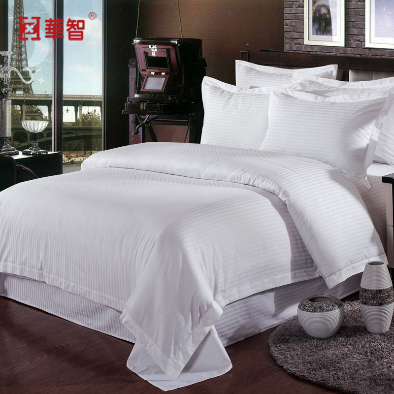 JT003 Hotel Cloth Product Bedding Article Hotel White Satin Stripe Three Four-piece Set Manufacturers Supply Of Goods Direct Sel