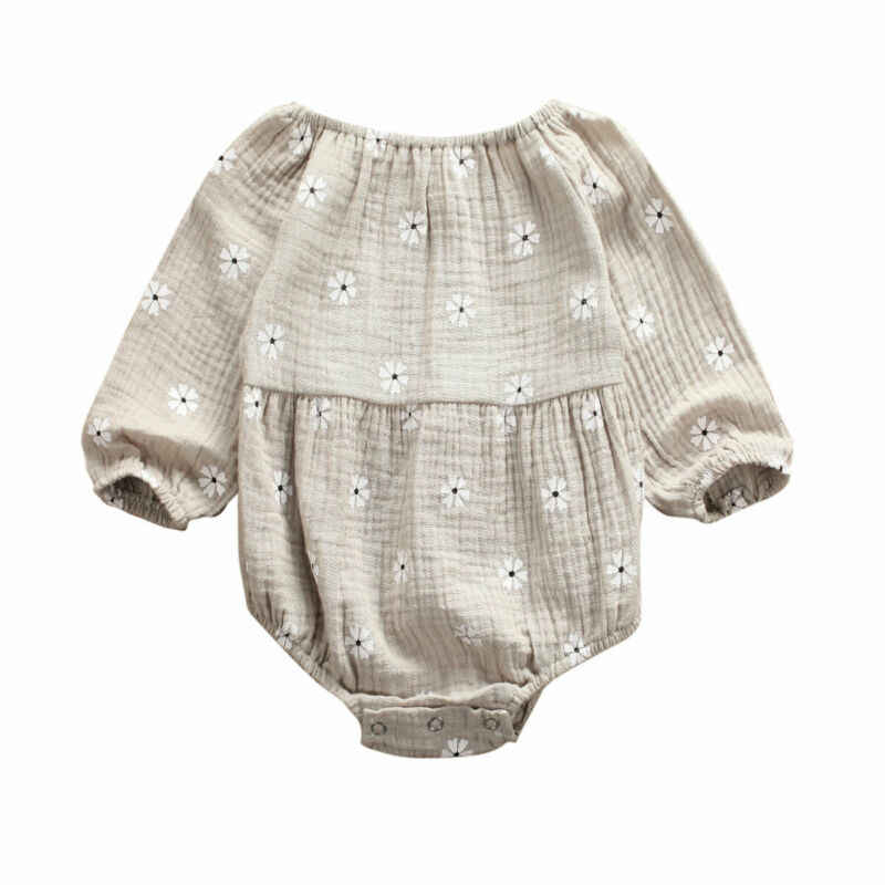 תינוקות פעוט תינוקת פרח בציר Romper ארוך שרוול יילוד ילדה Romper סרבל אביב סתיו תינוקת בגדים