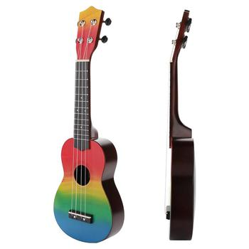 21 Inches Wooden Ukulele Small Guitar Hand-Painted Combo Soprano 4 Strings Uke Bass Stringed Musical Instrument for Beginners ukulele 21 inch soprano ukulele uke sapele 15 fret four strings brown musical instrument