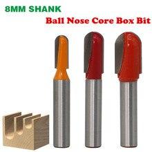 למעלה איכות 1pc 8mm Shank כדור האף Core תיבת עץ קצת הנתב קרביד ארוך להב נגרות נתב Bits כרסום Cutters