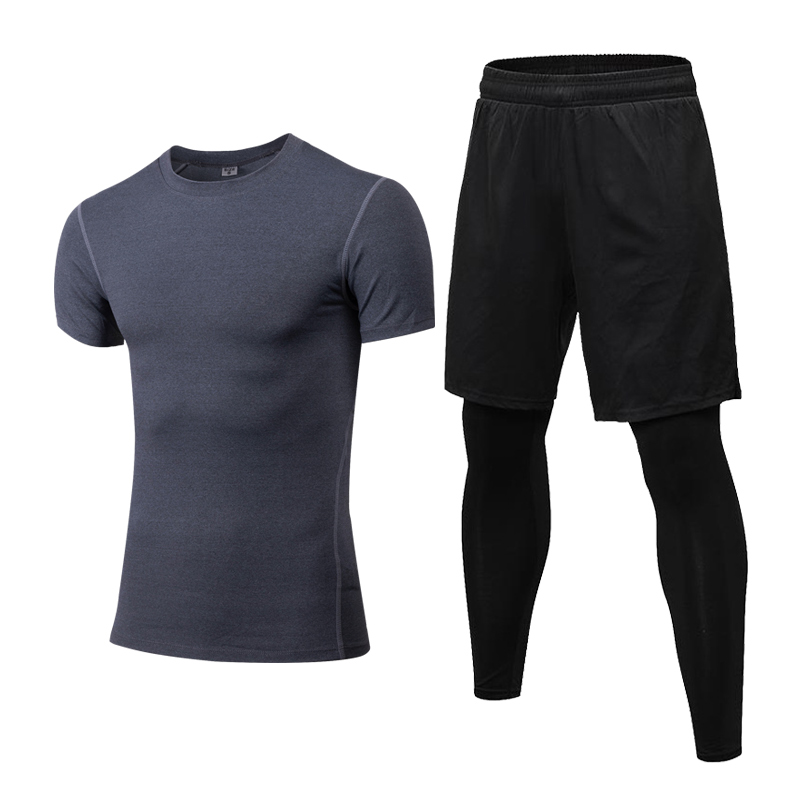 Men's Running Sets Summer Sports Tees Gym Tights Compression Tracksuit Jogging Fitness Sportswear Sports Suit 2Pcs Fake Pants