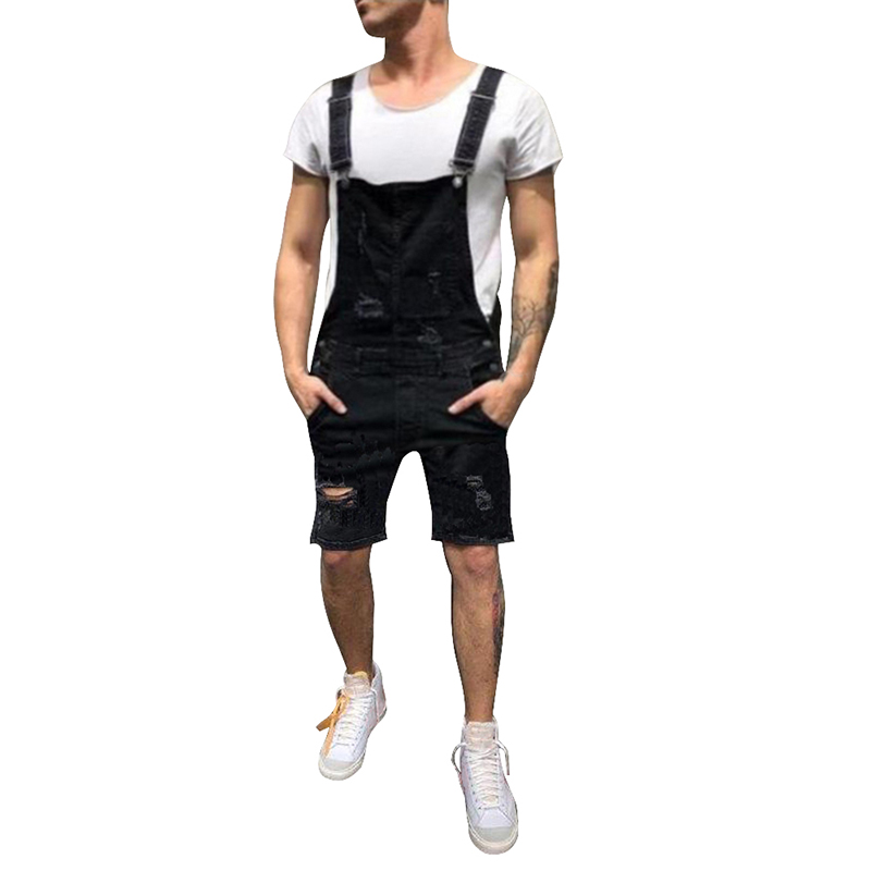 Fashion Men's Ripped Jeans Jumpsuits Hi Street Distressed Denim Bib Overalls For Man Suspender Long Short Pants Size S-XXXL 2019