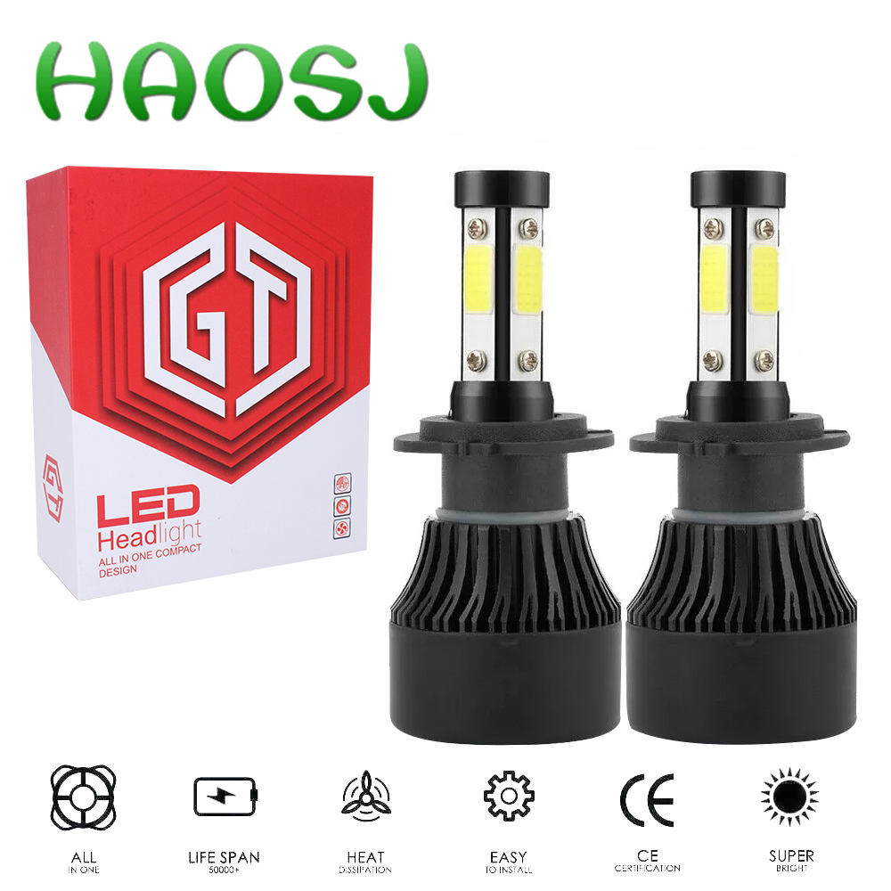 HAOSJ <font><b>LED</b></font> Car Bulb 4-Sides <font><b>H7</b></font> <font><b>LED</b></font> Headlight Kits <font><b>200W</b></font> 6000K 18000LM Replacement Bulbs H4 <font><b>LED</b></font> H11 9005 9006 image