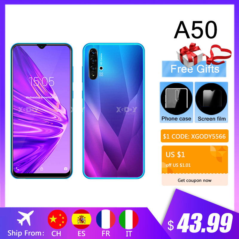 "XGODY A50 3G Smartphone 6.5"" 19:9 Android 9.0 1GB RAM 4GB ROM 5MP Camera Quad Core Dual SIM Unlock WiFi Mobile Phones CellPhone(China)"