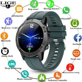 LIGE New Men Smart Watch Heart Rate Blood Pressure Blood Oxygen Monitor Pedometer Sport Waterproof Fitness Watch For Android iOS недорого
