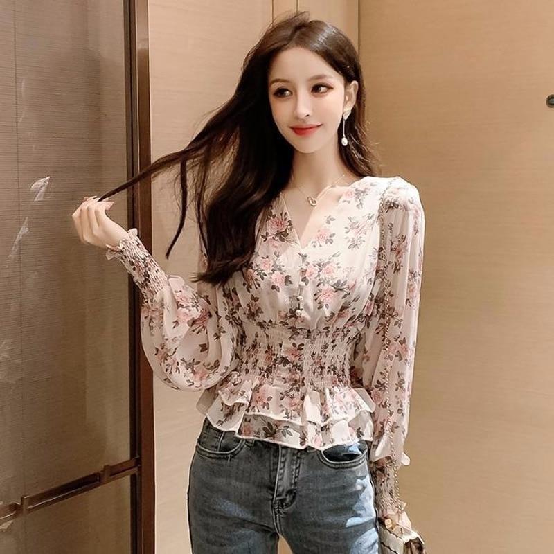 Женская шифоновая блузка с коротким/длинным рукавом, с цветочным принтом