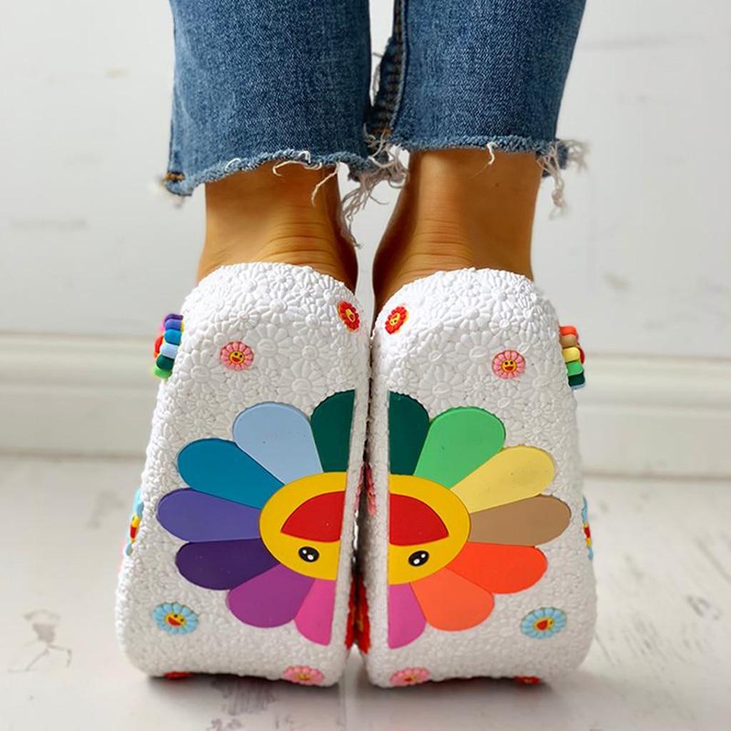 Beach Slippers 3D Smiling Sunflower Platform Sandals Women Casual Flats Flip Flops Women Outside Summer Home Bath Indoor Shoes