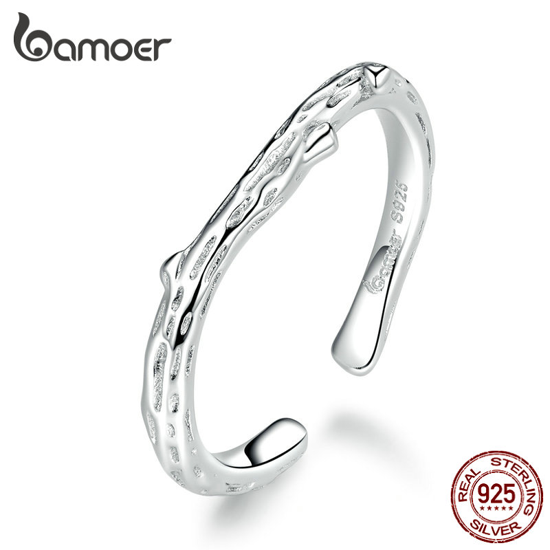 bamoer 100% <font><b>Sterling</b></font> <font><b>Silver</b></font> <font><b>925</b></font> Branch Open Adjustable <font><b>Rings</b></font> <font><b>for</b></font> Unisex Women and Man Fine Jewelry Gifts Free Size BSR088 image