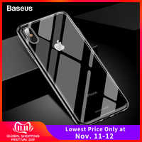 Baseus de vidrio de lujo para iPhone XS Max Xr Xsmax TPU Borde de vidrio templado estuches funda protectora Coque para iPhonexs max Fundas
