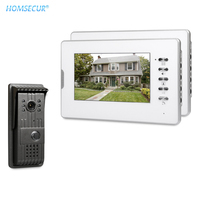 HOMSECUR Wired 7 Color Video Door Intercom System with 700TVL Outdoor Camera IR Night Vision Mute Mode Outdoor Monitoring