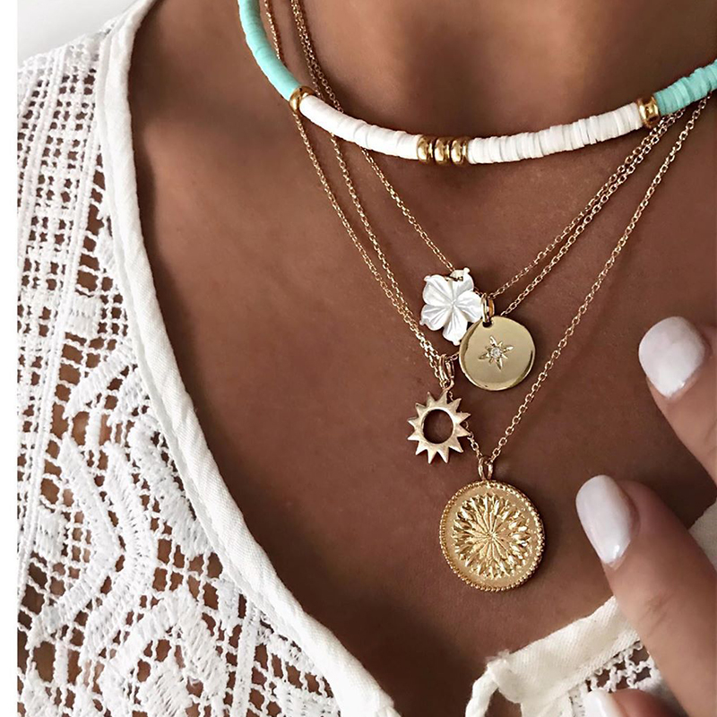 Retro Women Necklaces Round Flower Sun Pendant Twine Rope Clavicle Chain Gold Necklace Set Ethnic Style Beach Party Jewelry
