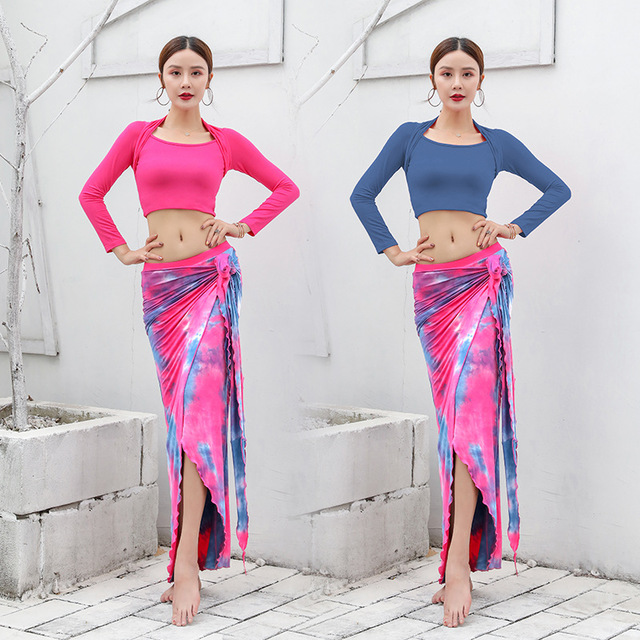 2020 New Women Dancewear Belly Dance Clothes Modal Outfit Two-piece Training Suit Top + Skirt Bellydance Long Dress