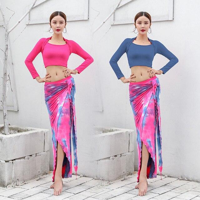 2020 New Women Dancewear Belly Dance Clothes Modal Outfit Two-piece Training Suit Top + Skirt Bellydance Long Dress
