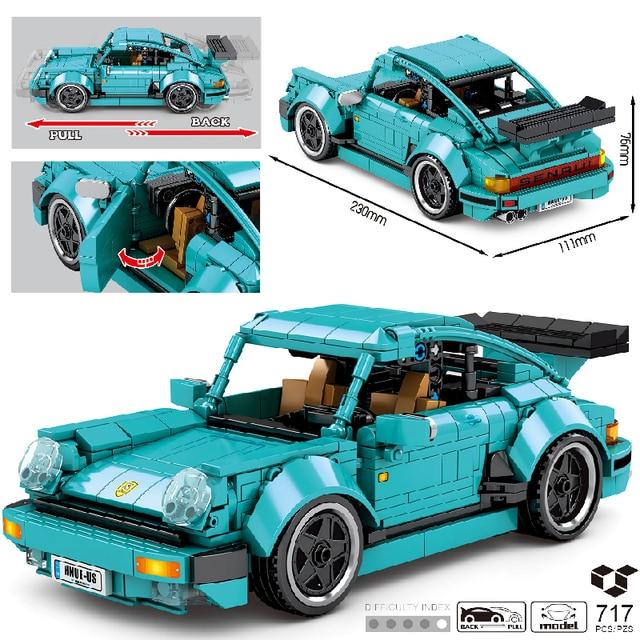 MOC 717pcs Classic Car City Pull Back Sports Car Building Block Model High-Tech Speed Roadster Kid Toy Assembled DIY Bricks Gift 1