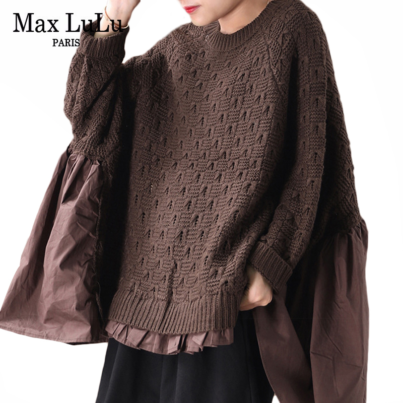 Max LuLu 2019 Winter Fashion Korean Jumper Ladies Punk Clothes Womens Knitted Warm Oversized Sweaters Casual Patchwork Pullovers