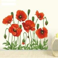 Pegatinas de pared del dormitorio para decoración del hogar, arte extraíble de amapola de Nuevo rojo, calcomanías de vinilo con Mural de flores extraíbles
