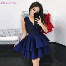 Темно синее коктейльное платье 2020 женские вечерние короткие