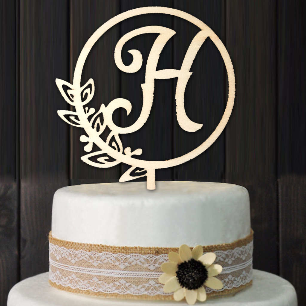 Magnificent Letter H Personalized Initial Wood Cake Topper Monogram Wedding Funny Birthday Cards Online Overcheapnameinfo