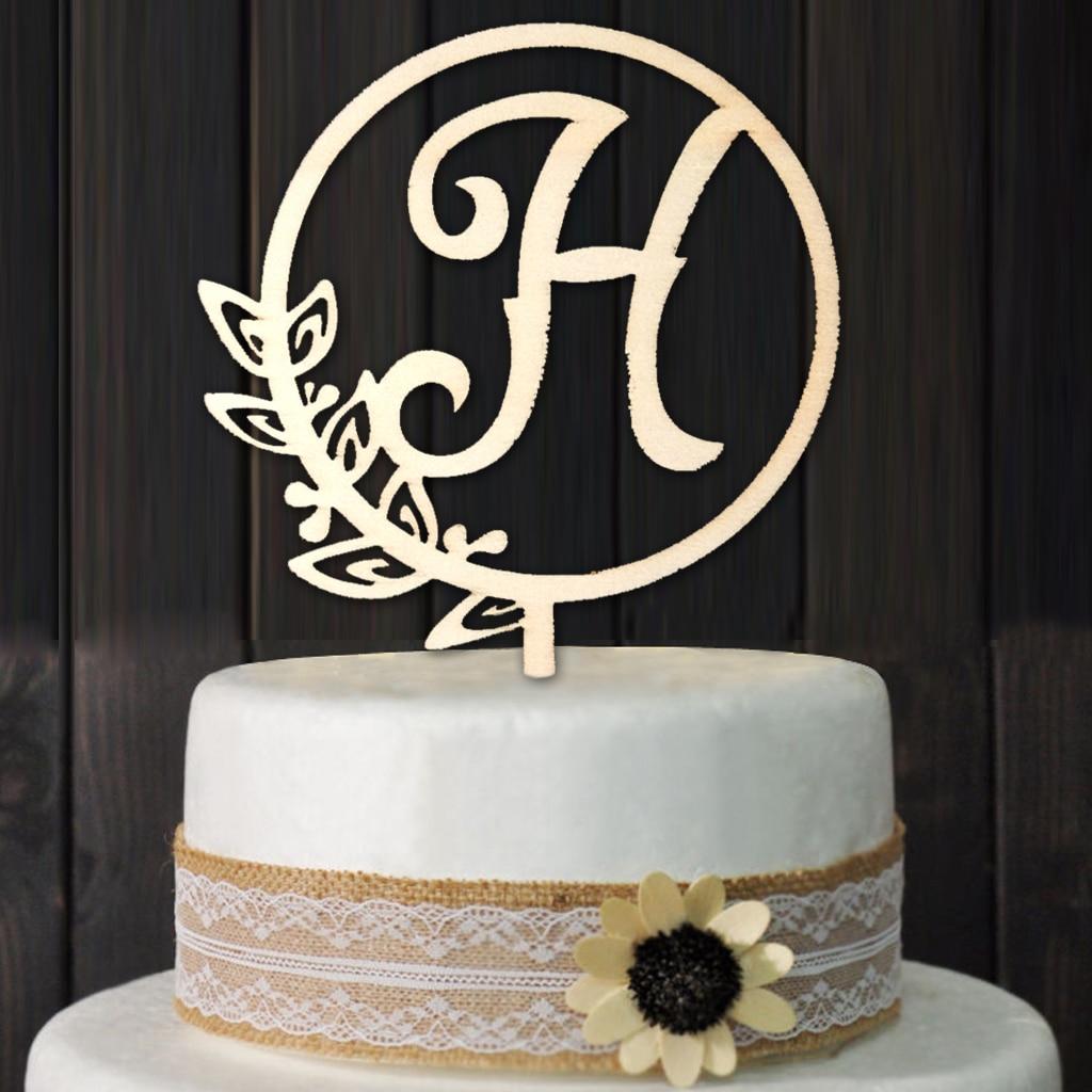 Magnificent Letter H Personalized Initial Wood Cake Topper Monogram Wedding Funny Birthday Cards Online Benoljebrpdamsfinfo