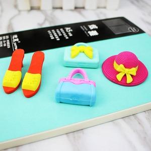 P34 creative cartoon sun hat high heeled shoes handbag eraser girls pencil rubber suit stationery 5pcs/set