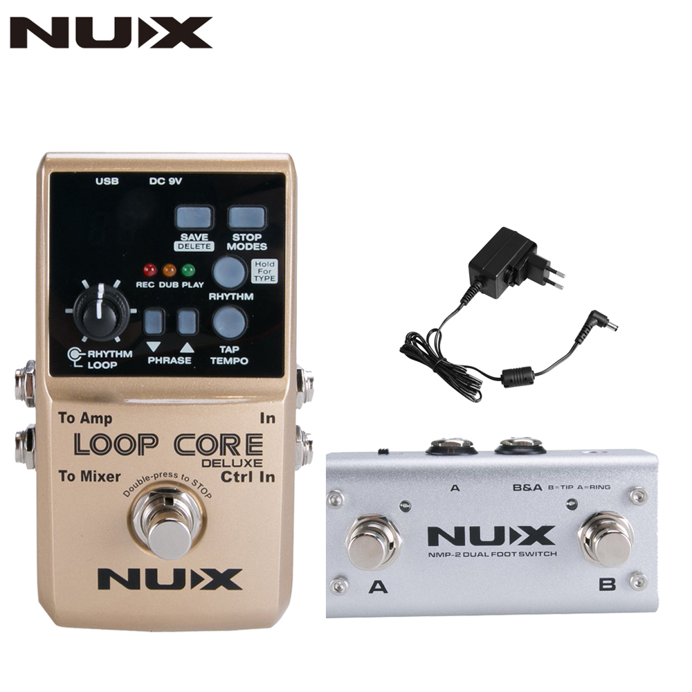 NUX Loop Core Deluxe Guitar Looper 8 hours Loop Time,24-bit Audio,Automatic Tempo Detection with Footswitch