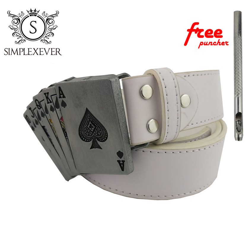 Poker Belt Buckle With Metal Silver Finish Punk Rock Style For Men's Belt Fit 3.5cm Snap On Belt Jeans Accessories
