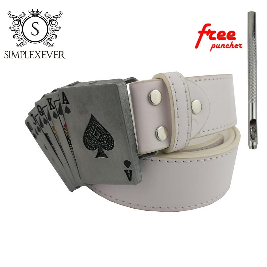 Poker Belt Buckle With Metal Silver Finish Punk Rock Style For Men's Belt Fit 3.5cm Snap On Belt Jeans Accessories
