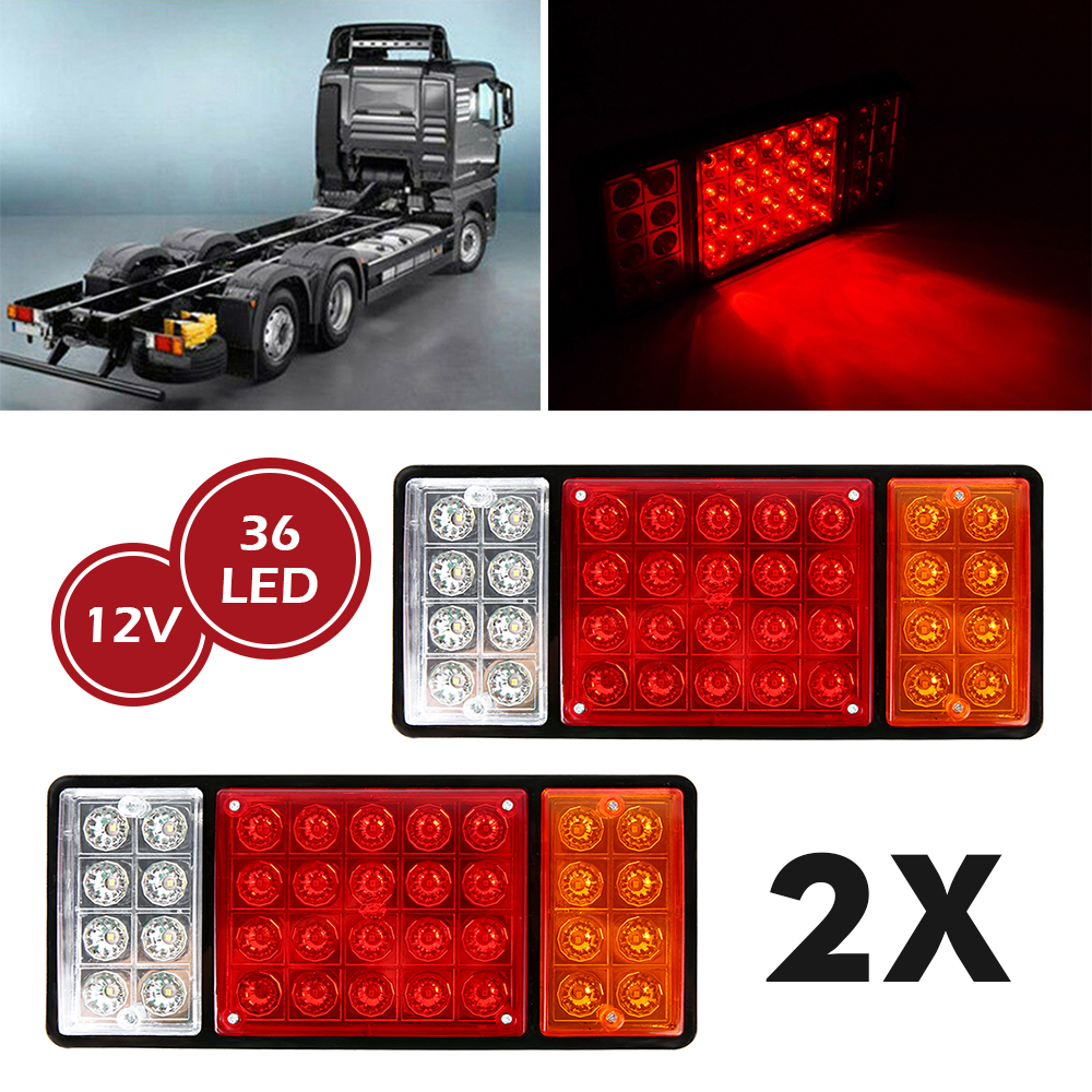 2pcs/lot 12V 36LED Waterproof Trailer Truck LED Tail Light Super Lamp Yacht Car Taillight Reversing Running Brake Turn Lights