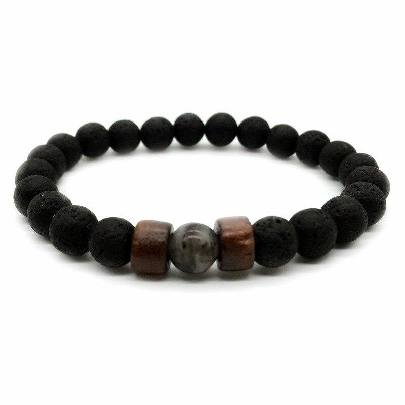 8mm Natural Volcanic Stone Wooden Beads Bracelet Men Black Lava Healing Balance Beads Reiki Buddha Prayer Bracelet for Women