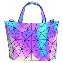 TangDe Geometric Purse Holographic and Handbag Color Changes Luminous for Women