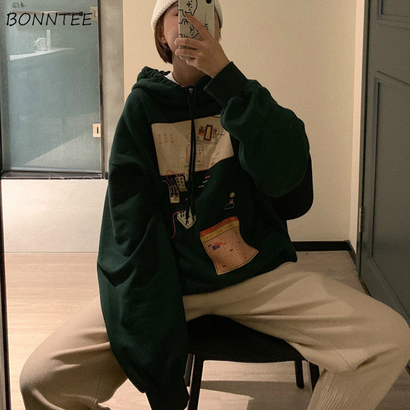 Hoodies Women Winter Velvet Thicker Printed Oversized BF Streetwear Hip-Hop Harajuku Unisex Couples Pullover Korean Ulzzang Chic