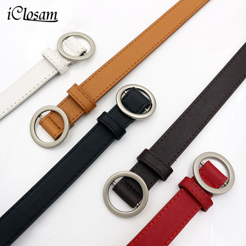 iClosam Women leather belt Newest Round buckle belts female leisure jeans wild without pin metal buckle Women strap belt
