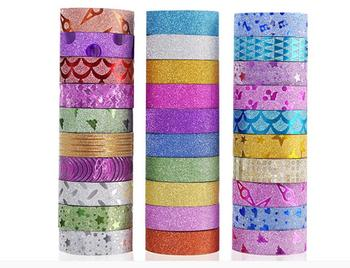 10PCS Glitter Washi Tape Stationery Scrapbooking Decorative Adhesive Tapes  DIY Color Masking Tape  School Supplies Papeleria moamm paper rose gold decorative foil glitter washi tape masking tape japanese stationery scrapbooking office supplies