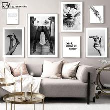Seksowna kobieta modny plakat czarny biały druk na płótnie ściana artystyczny obraz minimalistyczna grafika nowoczesne artykuły domowe dla dziewcząt dekoracja pokoju tanie tanio NICOLESHENTING Płótno wydruki Pojedyncze Wodoodporny tusz Rysunek malarstwo Bezramowe lustra Klasyczne canvas painting