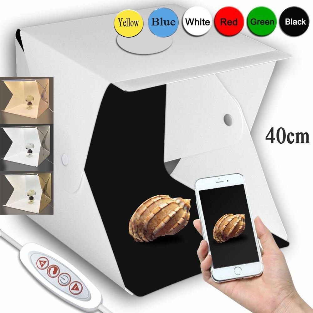 Dobrável lightbox 20cm 30cm 40cm portátil fotografia photo studio led softbox fundo kit usb mini caixa de luz para câmera dslr