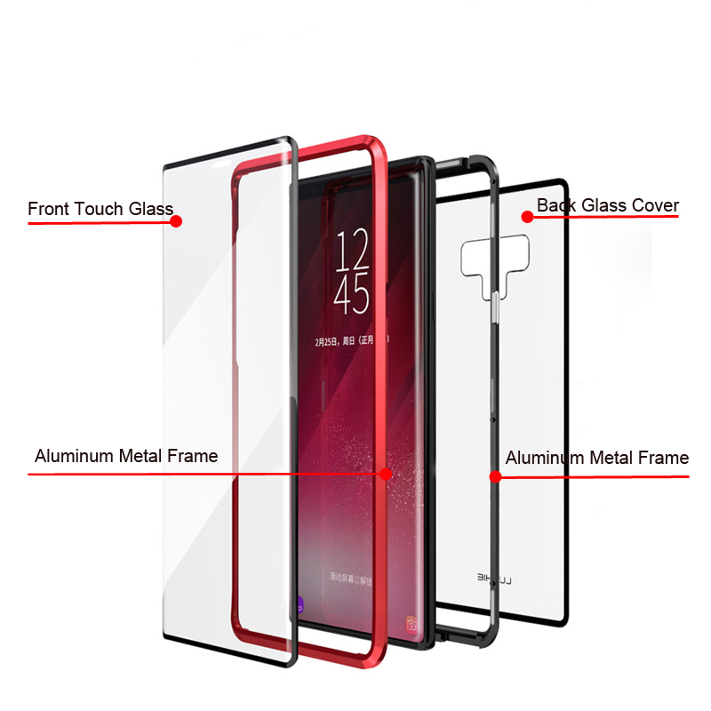 <font><b>360</b></font> Full Body Magnetic Cover,<font><b>Cases</b></font> For <font><b>Samsung</b></font> Galaxy Note 9 8 Metal Bumper Magnet Armor For <font><b>Samsung</b></font> <font><b>Note9</b></font> <font><b>Cases</b></font> <font><b>360</b></font> Note8 coque image