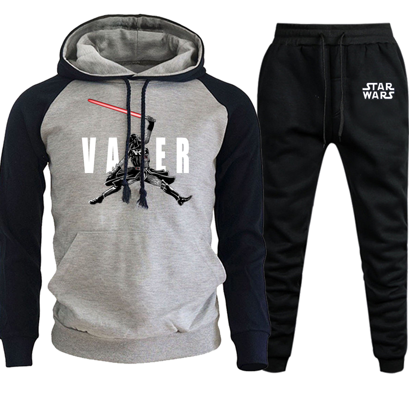 Darth Vader Star Wars Autumn Winter 2019 New Sportswear Hooded Men Raglan Suit Casual Fleece Hoodie Streetwear+Pants 2 Piece Set