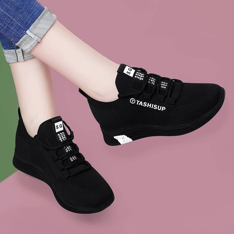 Cloth shoes Korean women's shoes flat bottom black sports shoes leisure Women's running travel shoes