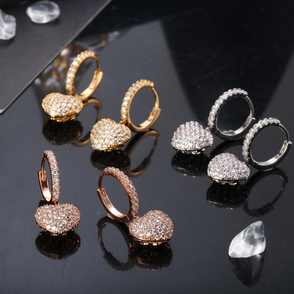 Tiny Small CZ Heart Earrings For Women Romantic Cubic Zirconia Drop Earrings Gold Color Elegant Party Wedding Jewelry Gift 2020