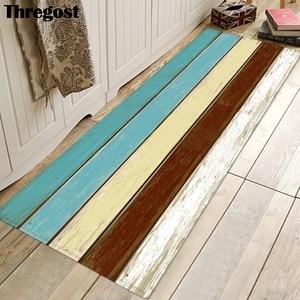 Image 3 - Thregost 스트라이프 인쇄 긴 층 매트 3D 카펫기도 양탄자 이슬람 실내 현관 매트 메모리 폼 소프트 주방 카펫