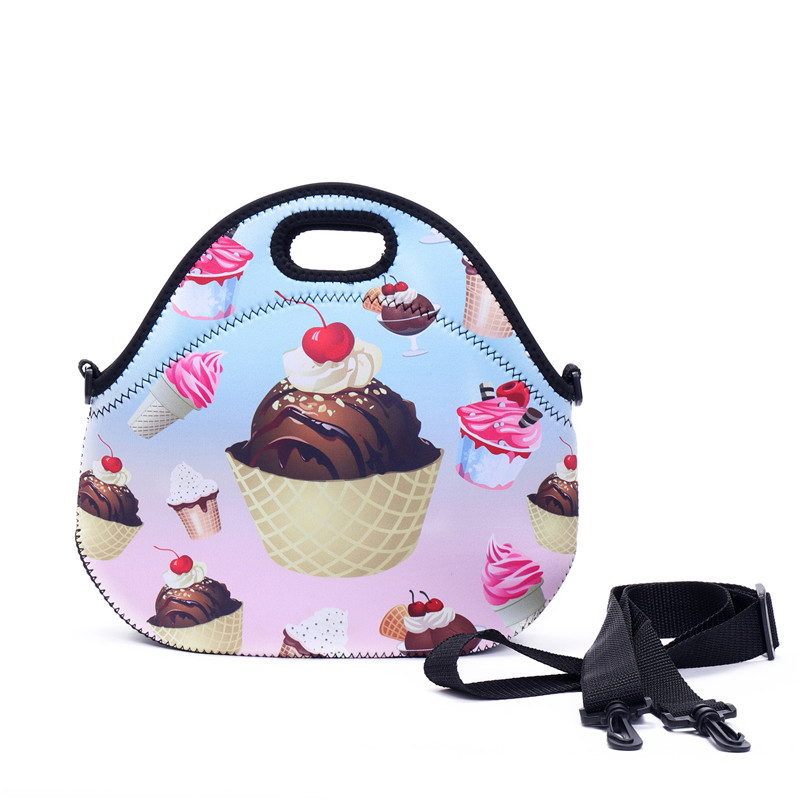 Soopream Women Lunch Bag 3D Printed Neoprene Waterproof Zipper Hot Sale For Food Package Picnic Women Shoulder Lunch Bags