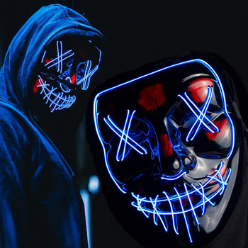 Horror LED Mask Halloween Cosplay DJ Bar Party Neon EL Wire Light Up Glow Masks Masquerade Carnival Festival Scary Costume Props iron man helmet mask led light cosplay ironman masks superhero weapons halloween party costume hood masque masquerade